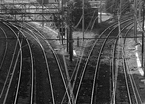 Railroad tracks in a switching yard